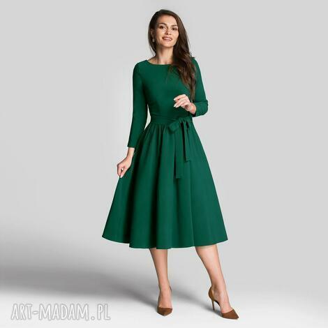 sukienki sukienka marie 3/4 midi zieleń, midi, rozkloszowana
