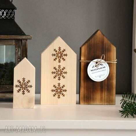 3 x domki drewniane - domki, domek, dom, drewnany, gwiazda, choinka