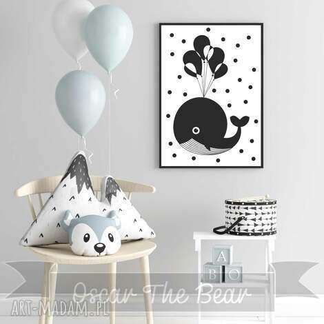 plakat wielorybek format a3 - wieloryb, pokoik, ozdoba, plakat, obrazek, czarno