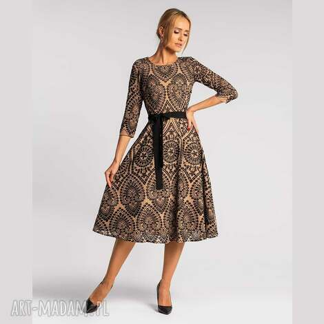 sukienka mable 3/4 total midi donatella beż, midi, rozkloszowana