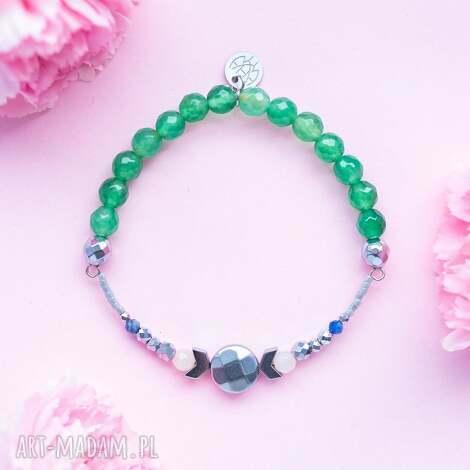 zielona bransoletka high z awenturynami szafirem jadeitem i srebrnym hematytem