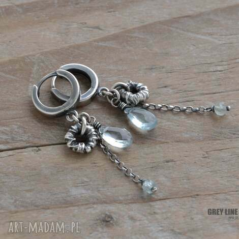 surowe z akwamarynem - srebro, akwamaryn