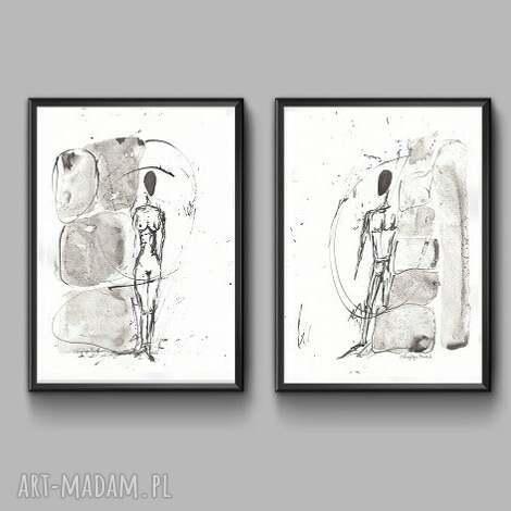 dwie grafiki czarno-białe minimalizm, obraz abstrakcyjny, 21x30 a4 rysunek