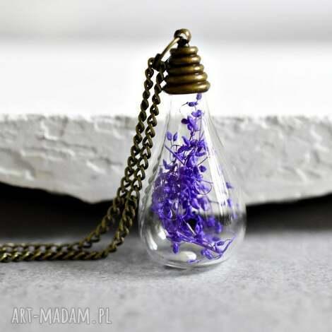 Życie jest piękne naszyjnik z prawdziwym kwiatem - naszyjnik, braz, fiolet