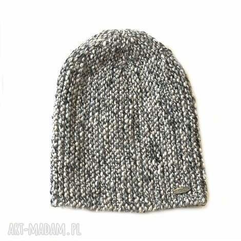 czapka 30 - melanżowa, wełniana, dziergana, unisex, czapka, alpaka