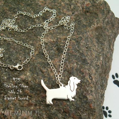 basset hound srebro próby 925 naszyjnik nr 24 - basset hound, naszyjnik z psem