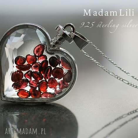 925 srebrny naszyjnik granat - serce, kamienie, granat, szklany, medalion, srebro