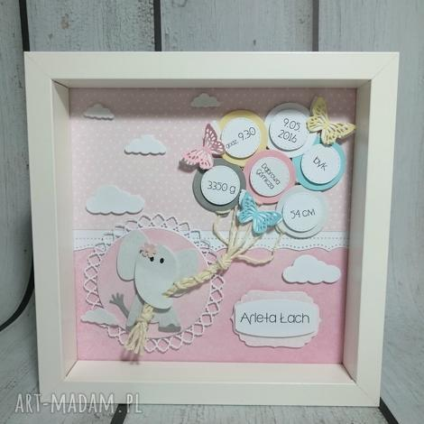 kolorowo-motylkowa metryczka dla maluszka - metryczka, chrzest, narodziny, prezent