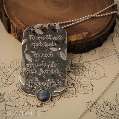 srebrny naszyjnik - przesłannik z kianitem - srebro, cytaty, nieśmiertelnik