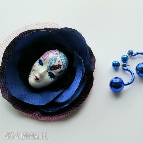 broszka z kolekcji masquerade - dreamcatcher - maska, dream, catcher, broszka, kwiat