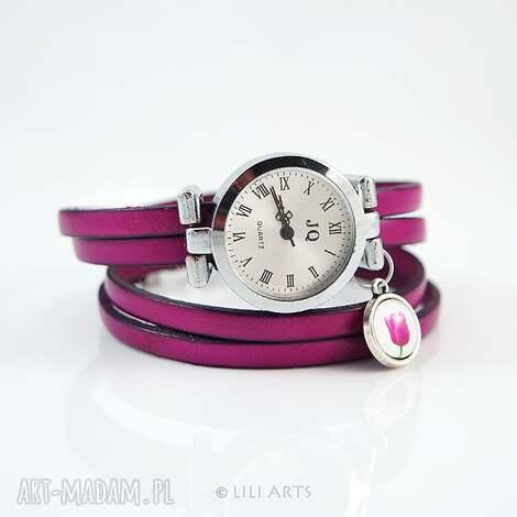 bransoletka, zegarek - tulipan amarantowy, fuksja, zegarek, skórzany