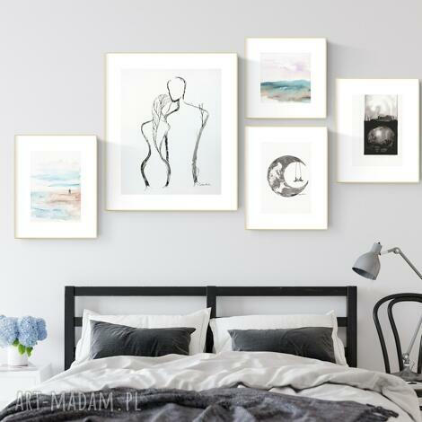 plakaty zestaw 5 grafik wykonanych ręcznie, do salonu, 2604942, obraz