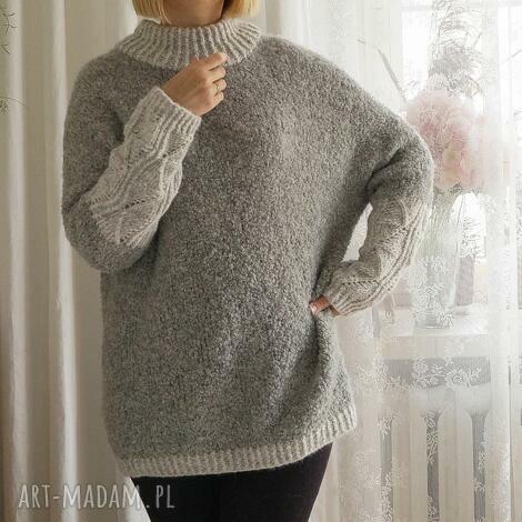 sweter boulce - szarości, sweter, wełniany, supełkowy, tunika, boulce