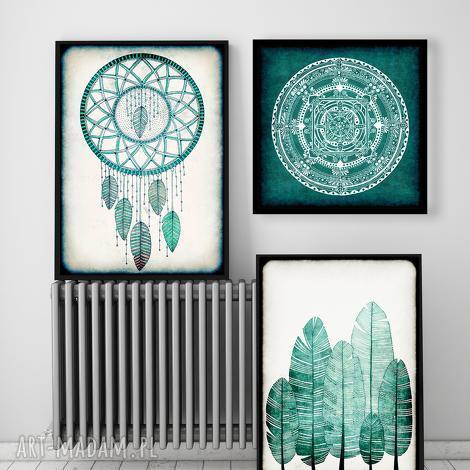 wyjątkowe prezenty, grafika zestaw 3 prac, plakat, łapacz, sny, mandala, obraz