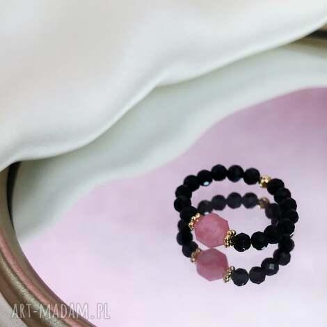 pierścionek - rodochrozyt, onyks, kamienie, kamienie
