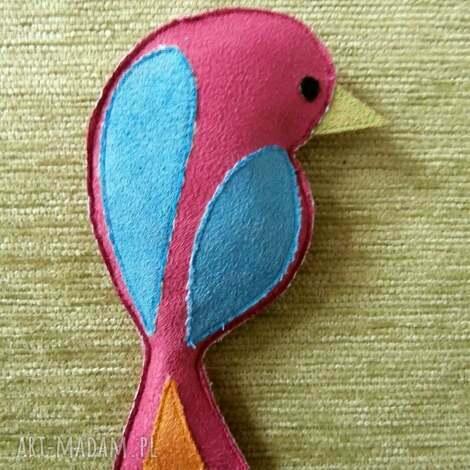 broszka różowy ptak - różowy, ptak, zapięcie