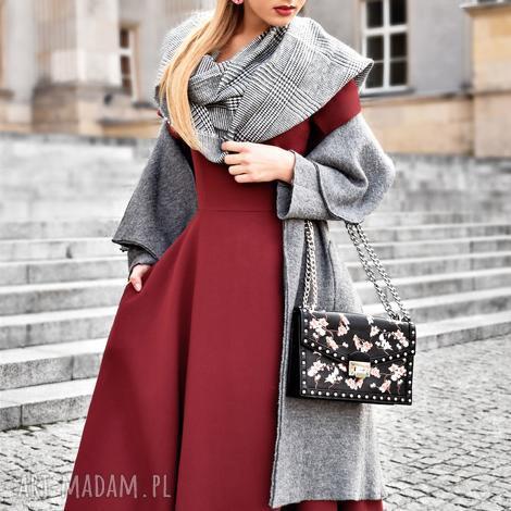 sukienki sukienka fler total midi bordo, midi, kieszenie, rozkloszowana, bordowa