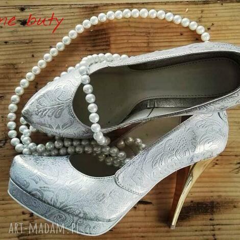 buty góralskie złoto srebrne szpilki, folk, ludowe, góralskie, ślubne, weselne
