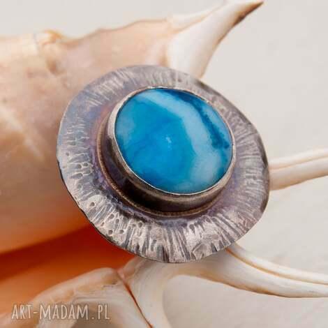 a504 pieścień z błękitnym agatem, pierścionek, srebrny, elegancki, masywny, kobiecy