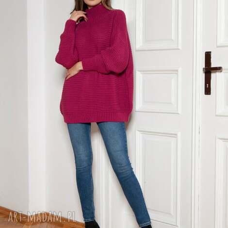 sweter oversize z golfem - swe148 amarant, golfem, ciepły sweter, gruby