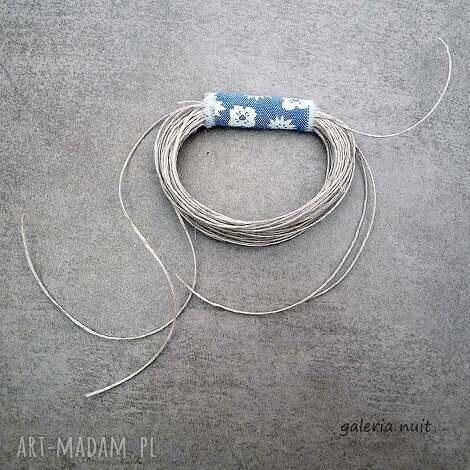 eko wheel - lniana broszka z niebieskim - kwiaty, len, lniany, brocha, lekka, ekologiczna