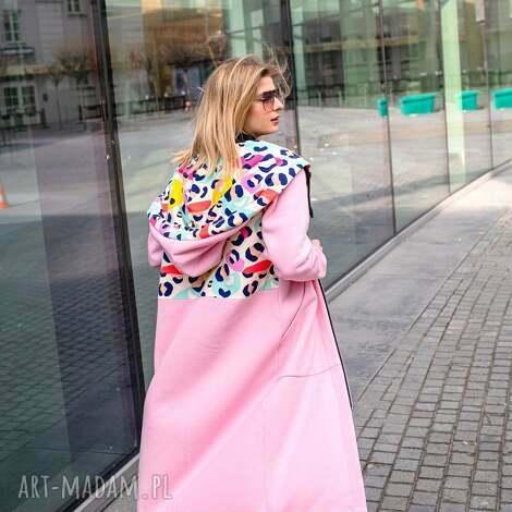 mega długa bluza nepal różowy (kurtka w printy, długa bluza, płaszcz)