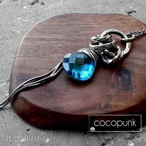 srebro, kwarc swiss blue- dŁugi, nowoczesny naszyjnik - niebieski, turkusowy