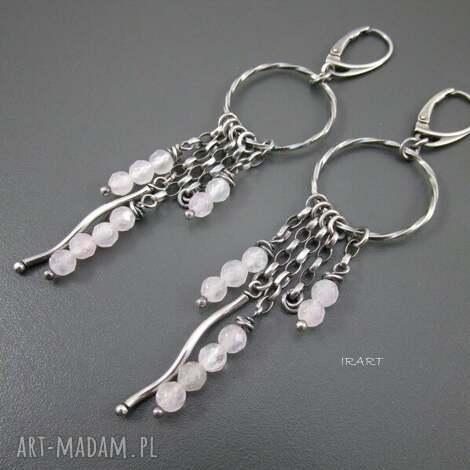 oryginalny prezent, koła z kwarcem, kwarc, srebro kolczyki biżuteria