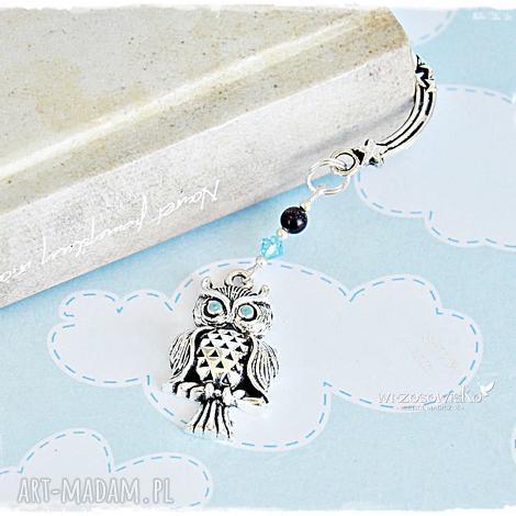 sowa z błękitnym kryształem - zakładka w pudełku, zakładka, sowa, sówka, prezent