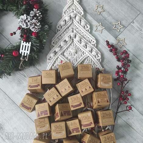 dekoracje kalendarz adwentowy, adwentowy, makrama