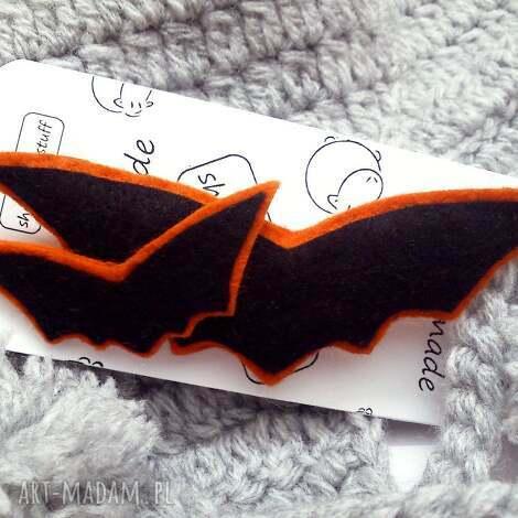 broszka z nietoperzami - broszka, filc, nietoperze, halloween