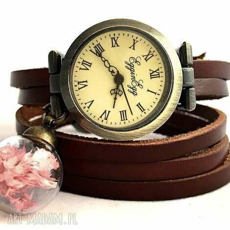 zegarki suszone kwiaty - zegarek/bransoletka na skórzanym pasku, zegarek, bransoletka