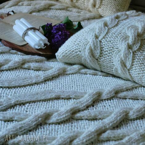 koce i narzuty ivory kremowy komplet koc poduszki, na drutach