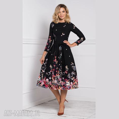 sukienka marie 3/4 midi asteria, midi, sukienka, w kwiaty