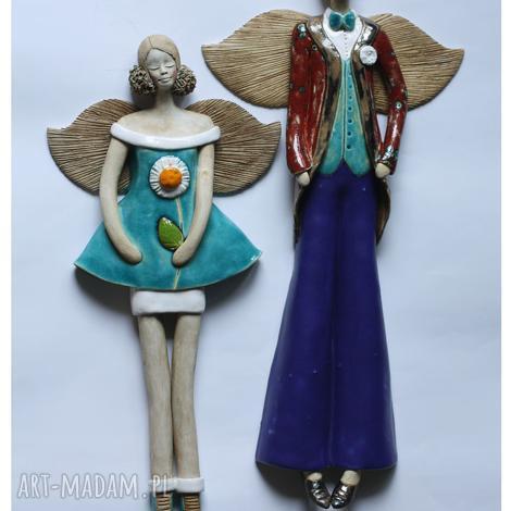 ceramika para wisząca w niebieskiej tonacji, anioł, ceramika