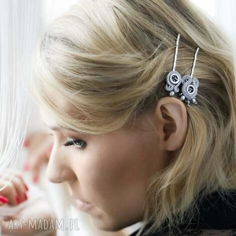 srebrna elegancka spinka do włosów typu wsuwka - srebrny sutasz kolekcja little