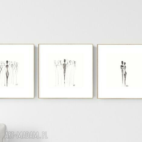 zestaw 3 grafik 20x20 cm wykonanych ręcznie, abstrakcja, 2706407, obraz ręcznie