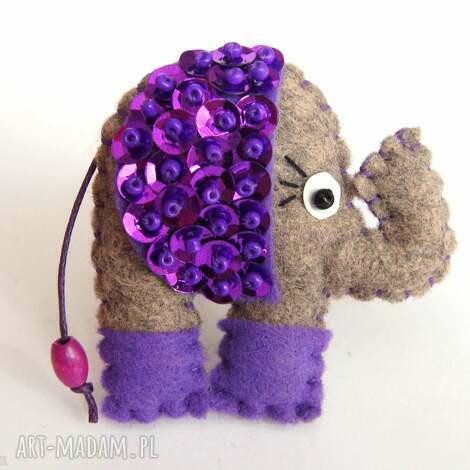 cekinowy słoń na szczęście broszka z filcu - filc, broszka, cekiny