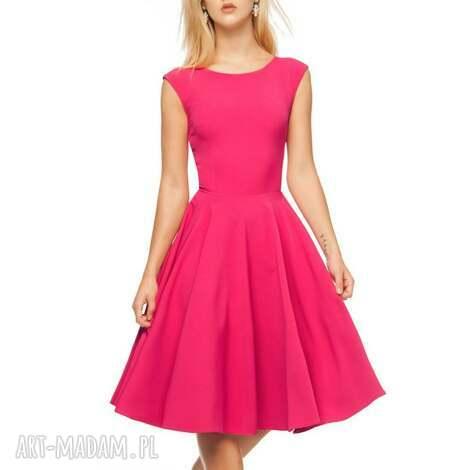 sukienki sukienka scarlett midi amarant, sukienka, midi, rozkloszowana, róż