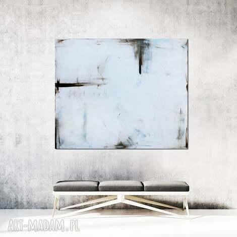 obraz olejny - biel i siena iv, olejny, malarstwo abstrakcyjne