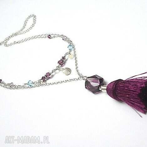 boho - purple - naszyjnik - srebro, boho, chwost, swarovski, długi