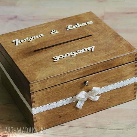 ślub pudełko z kluczykiem - koronka, drewno, pudełko, eko, rustykalne
