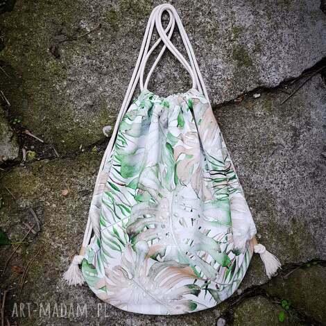 święta, plecak worek xl monstera, plecak, worek, liście, wegański, duży