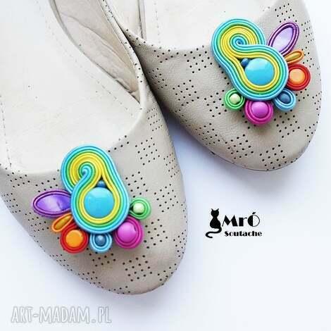 klipsy do butów - bajkowe, klipsy, sutasz, soutache, kolorowe ozdoby butów