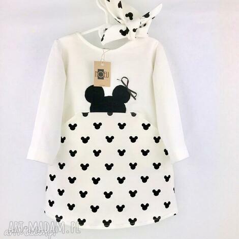 sukienka mouse ecru z opaską, sukienka, dla dziecka