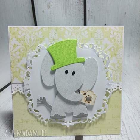 zaproszenie kartka elegancki słonik w zieleni - zaproszenie, słonik, sesja