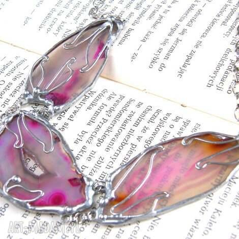 naszyjnik z 3 agatami różowy - naszyjnik-z-kamieni, naszyjnik-z-agatem