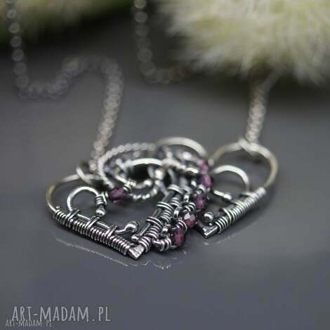 naszyjnik z turmalinami dwa serca - walentynki, turmalin, drobny, naszyjnik, srebro