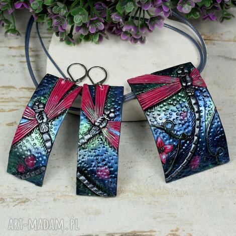 komplet biżuterii ważki, biżuteria ważka, kolorowa biżuteria, kolczyki