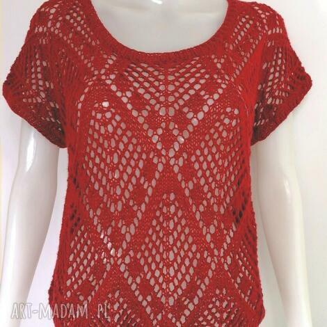 elma22 letnia ażurowa bluzeczka na lato, ażurowa, drutach, czerwona, bawełna